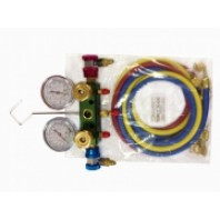 Алюминиевый блок манометров, для фриона R12,R22 R134А ( 2 крана, 3 цветных шланга 60